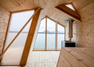 Escape to One of These 10 Otherworldly Outdoor Saunas - Photo 10 of 10 - The ribbon-like design affords the building three different gabled roof profiles—one is symmetrical, while the other two lean in opposite directions.