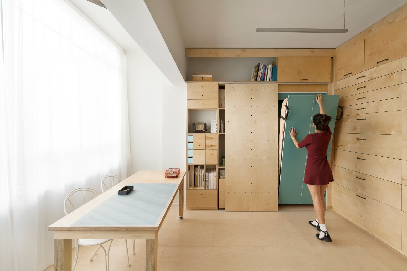 The modular shoveled and drawers were designed into four separate categories based on the measurement of each object. Tagged: Shed & Studio and Storage Space.  Photo 6 of 11 in 10 Space-Saving Interiors For Multifunctional Living