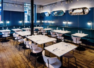 A New Velvet- and Brass-Filled Restaurant That's Housed in a 19th-Century London Warehouse - Photo 3 of 7 -
