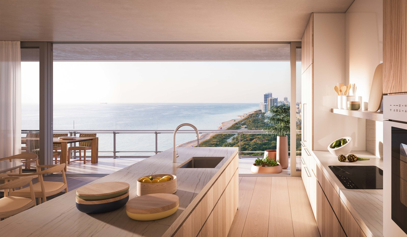 Throughout the interior, window frames are sunk into the floor and ceiling, erasing the sense of space between inside and outside. Tagged: Kitchen.  Photo 5 of 8 in Sneak Peek of Renzo Piano's New Stunning Oceanfront Condominiums in Miami's North Beach