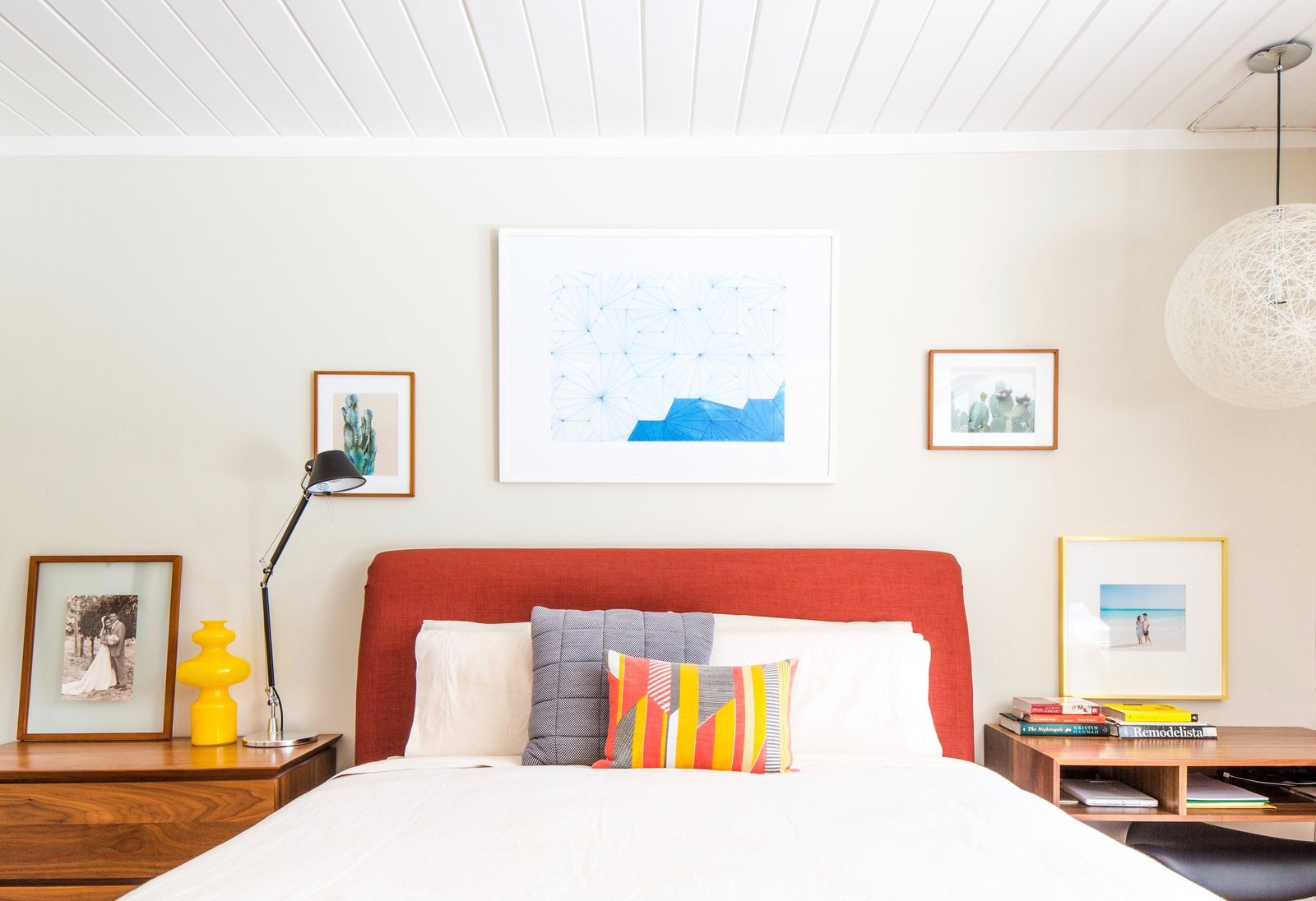 Tagged: Bedroom, Bed, Night Stands, Pendant Lighting, and Table Lighting.  Photo 11 of 11 in An Interior Designer Launches Her Career by Renovating Her Family's Midcentury Eichler