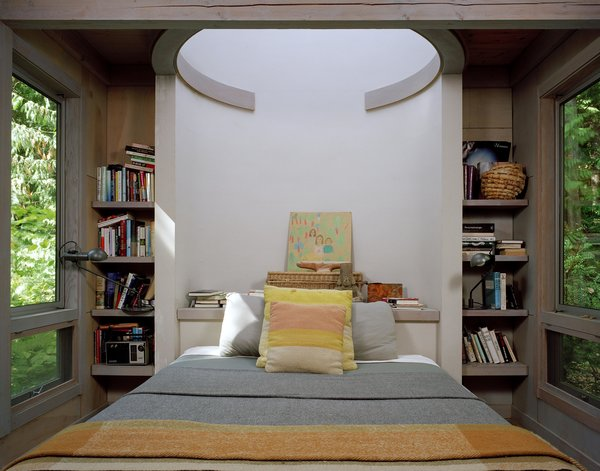 Modern home with bedroom and bed. Cabin at Longbranch | Olson Kundig Photo 8 of Cabin in Longbranch