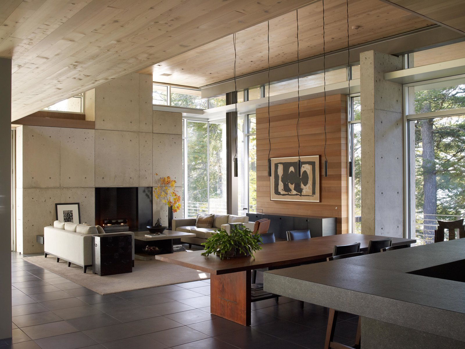 Northwoods House Tagged: Exterior, Wood, Metal, Sofa, Coffee Tables, Table, and Dining Room.  Northwoods House by Olson Kundig