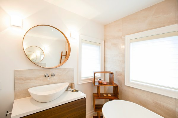 Modern home with bath room, vessel sink, wall lighting, accent lighting, freestanding tub, and pendant lighting. Edwardian Renovation - Master Bathroom Photo 16 of Edwardian Renovation