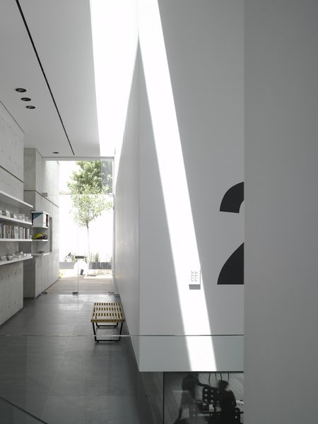 In plan, the house is defined by two axes; one running lengthwise through the main living space and one perpendicular from the main entrance to the staircase. Photo 7 of eHouse modern home
