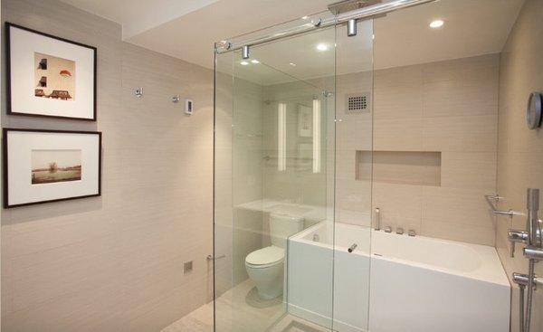 Shower-Bath comb. enclosure Photo 6 of Modern Again: a modern update of a Watergate apartment modern home
