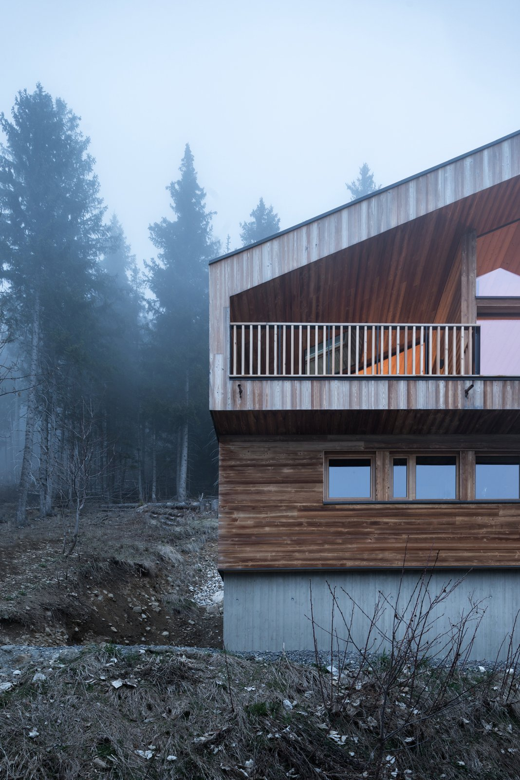 Tagged: Outdoor, Trees, Slope, and Woodland.  Mountain House by studio razavi architecture