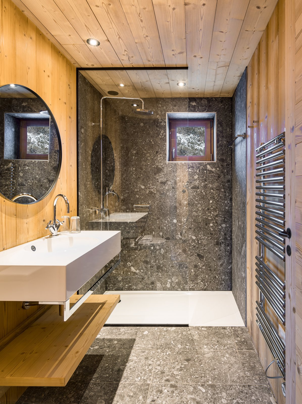 Tagged: Bath Room, Terrazzo Floor, Vessel Sink, and Wall Mount Sink.  Mountain House by studio razavi architecture