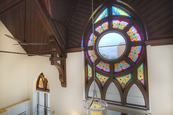 Stained Glass Windows in Living Room and Kitchen Photo  of Chicago Church Conversion - 2 bedroom in Bucktown modern home