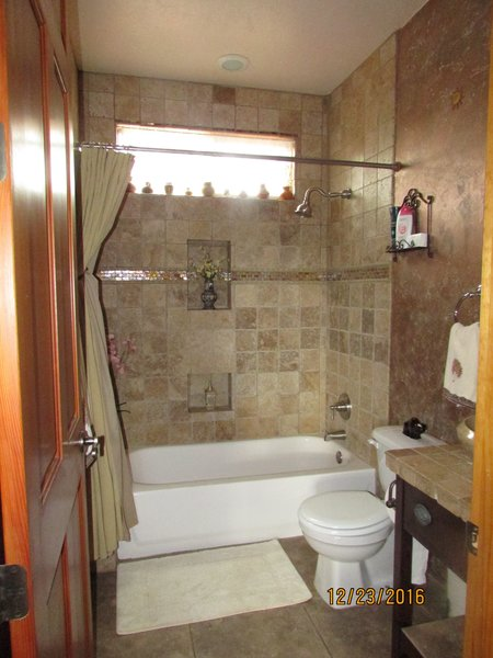 Guest bathroom with designer tile Photo 10 of Caliente Creek Ranch modern home
