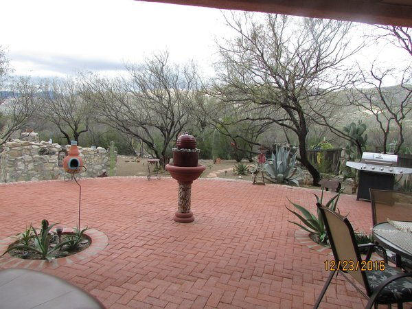 Looking north at backyard mountains and mesquites Photo 11 of Caliente Creek Ranch modern home