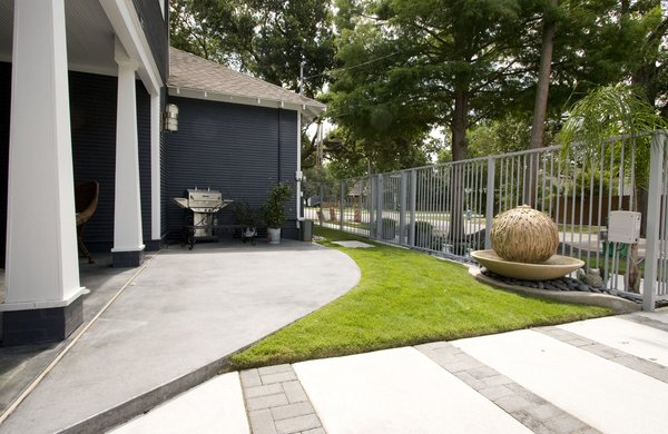 Updated back yard with Sun Deck & water features. Photo 16 of Historic Bungalow modern home