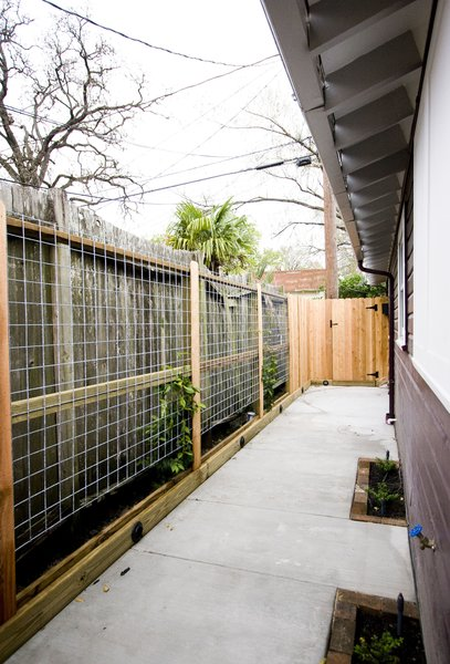 A new living fence was built to hide a rental unit's fence next to this home.  When filled in, the living fence provided additional privacy to the homeowner and tenants.  Landscape lighting was incorporated into the new fence to aid in security and to provide a peaceful ambiance at night. Photo 5 of Asian Bungalow modern home