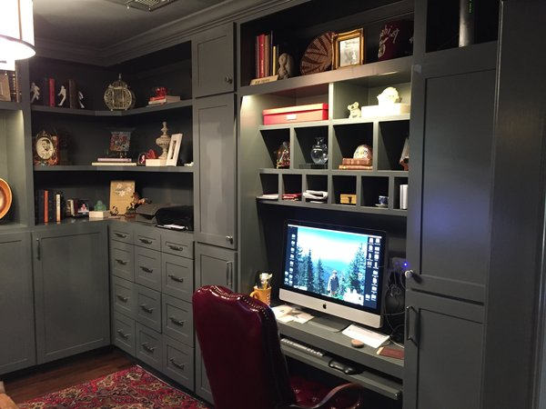 Built in desk and filing cabinets.  The door to the left of the desk housed a sewing station while the cabinets surround the desk held all the electronics needed in an office. Photo 11 of ADA Kitchen modern home