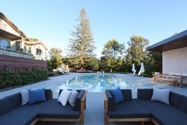 Pool Side Lounge Photo 12 of Los Altos Hills Landscape modern home