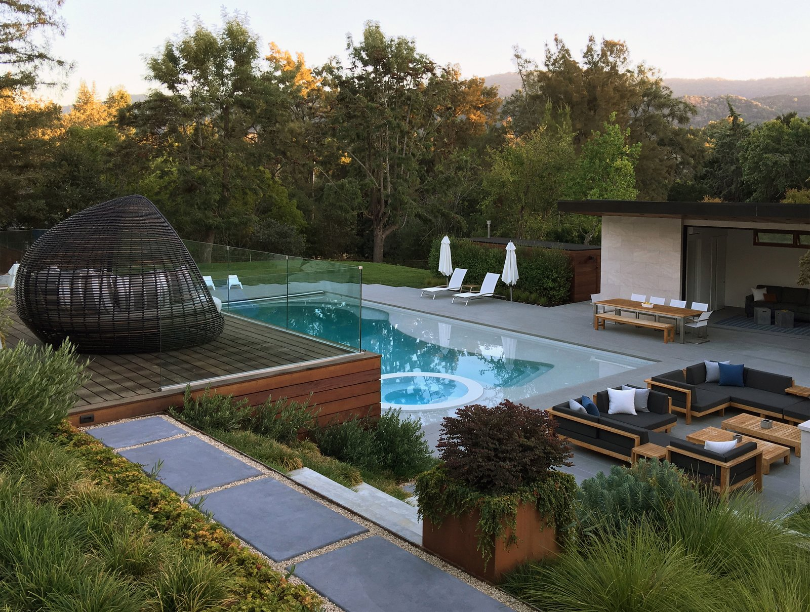 Terraced Decks to Pool & Pool House  Los Altos Hills Landscape by Greenblott Design