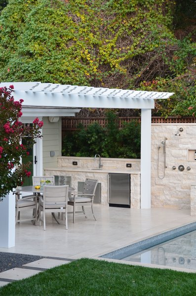 Dining Under Pergola at Kitchen & Outdoor Shower Photo 7 of Palo Alto Landscape modern home