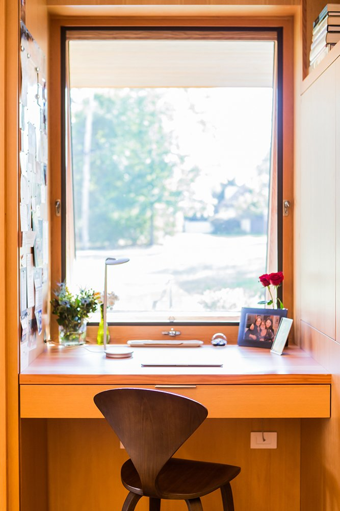 Kitchen desk look out over front yard   Gable House by Michael Goorevich