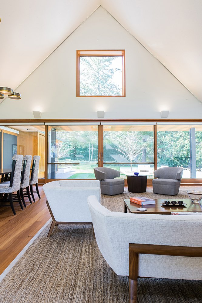Living Room and Dining Room view towards rear yard  Gable House by Michael Goorevich