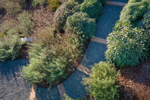 Modern home with outdoor, decomposed granite patio, porch, deck, slope, trees, back yard, shrubs, and grass. Toe path down Slope Photo 8 of Malibu Hillside