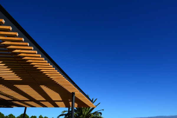 Modern home with outdoor, wood patio, porch, deck, and metal patio, porch, deck. Wood and steel Arbor Photo 10 of Malibu Hillside