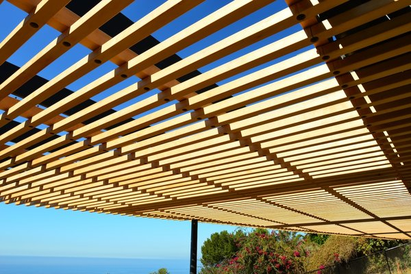 Modern home with outdoor, wood patio, porch, deck, and metal patio, porch, deck. Wood and Steel Arbor Photo 12 of Malibu Hillside