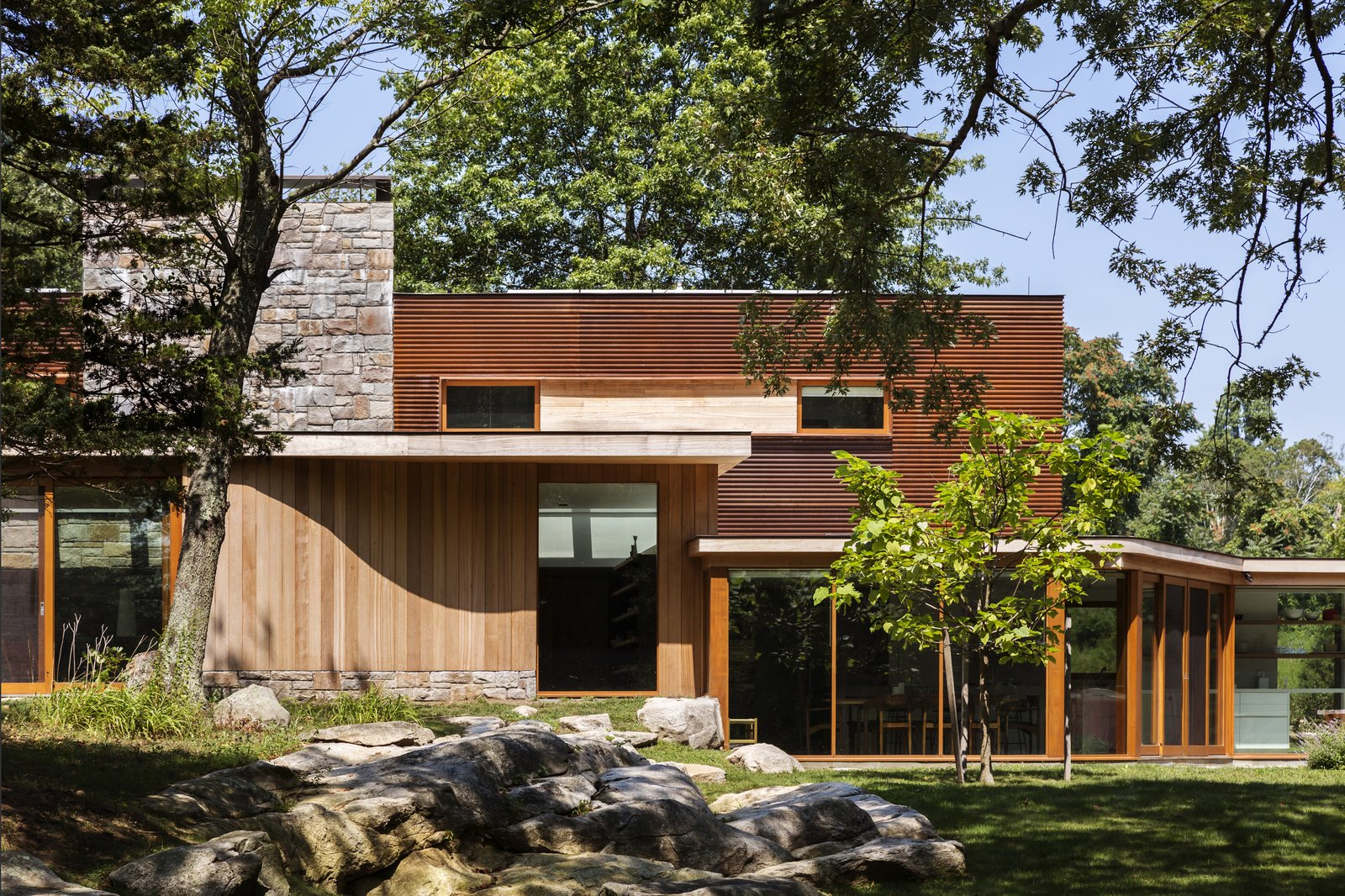 Tagged: Outdoor, Back Yard, Trees, Large Patio, Porch, Deck, and Wood Patio, Porch, Deck.  Best Photos from Stonington/Lincoln Residence