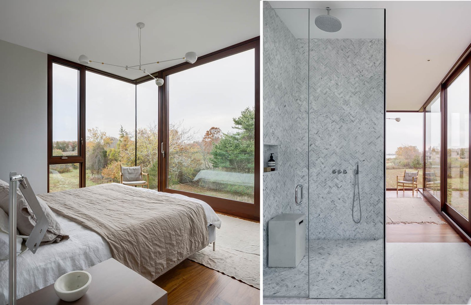 Master Bedroom and Shower  Watermill House by Office of Architecture
