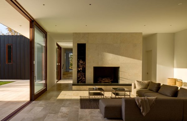 Living Room faces the setting sun. Photo 4 of Watermill House modern home