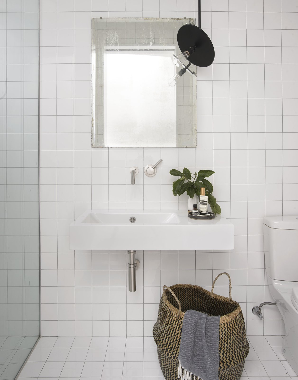 Bathroom Tagged: Bath, Ceramic Tile, Wall Mount, Open, Ceramic Tile, One Piece, and Pendant.  Best Bath Ceramic Tile Wall Mount Photos from Brooklyn Row 1