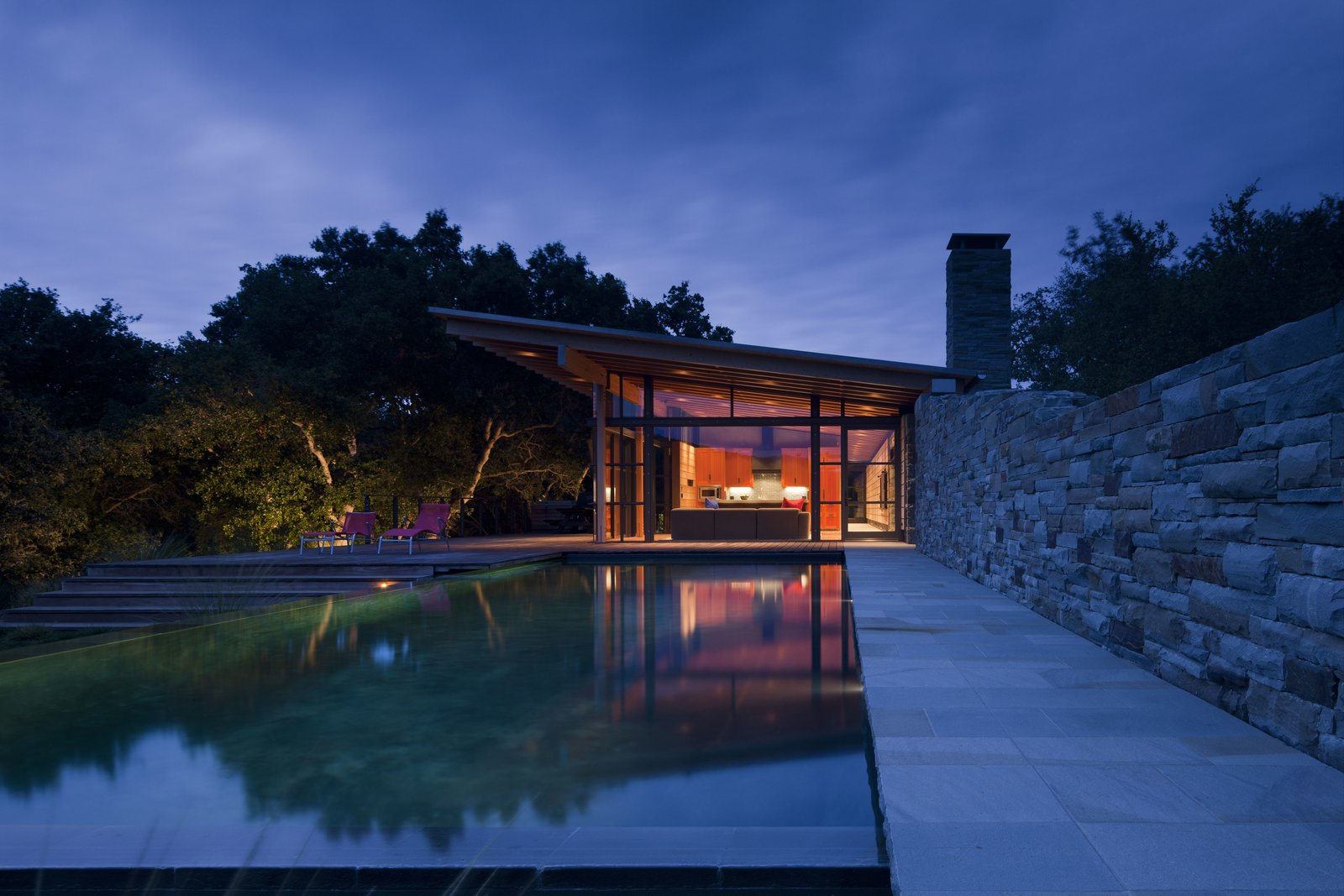 Tagged: Outdoor, Large Patio, Porch, Deck, Wood Patio, Porch, Deck, Trees, Infinity Pools, Tubs, Shower, and Stone Fences, Wall.  Halls Ridge Knoll by Bohlin Cywinski Jackson