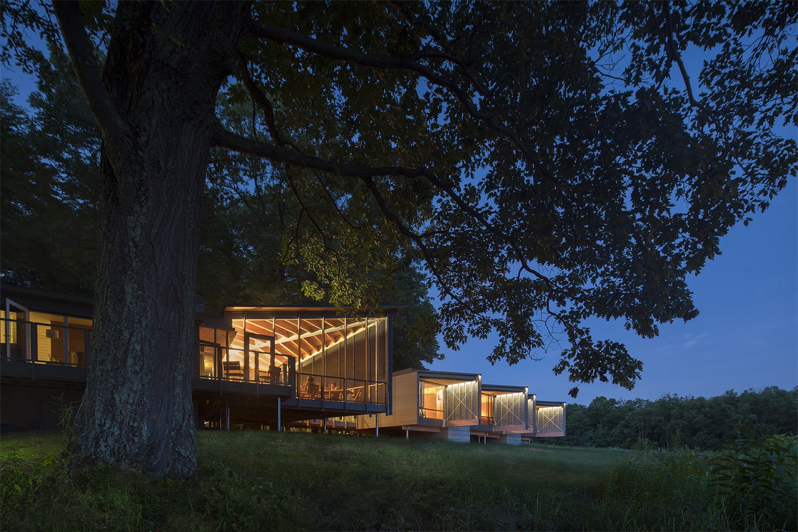 Tagged: Exterior, Wood Siding Material, Cabin Building Type, Shed RoofLine, Glass Siding Material, and House.  High Meadow at Fallingwater by Bohlin Cywinski Jackson