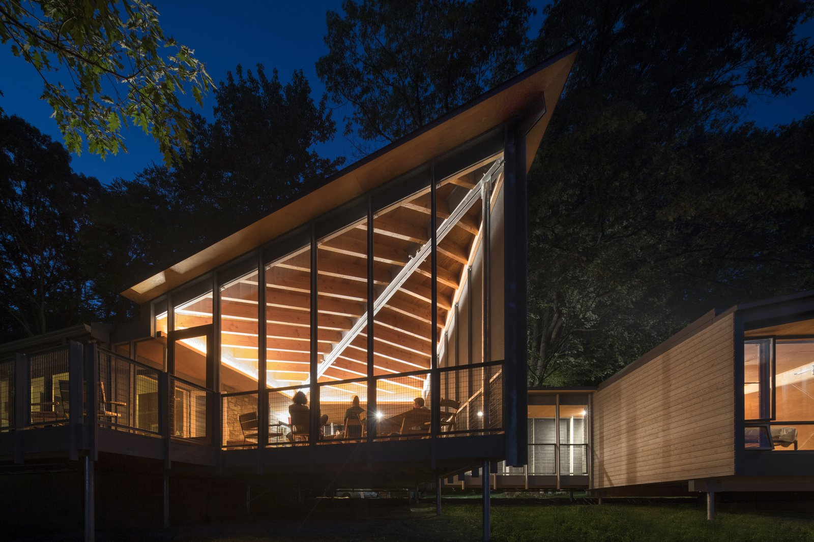 Tagged: Exterior, Cabin Building Type, House, Glass Siding Material, Shed RoofLine, and Wood Siding Material.  High Meadow at Fallingwater by Bohlin Cywinski Jackson