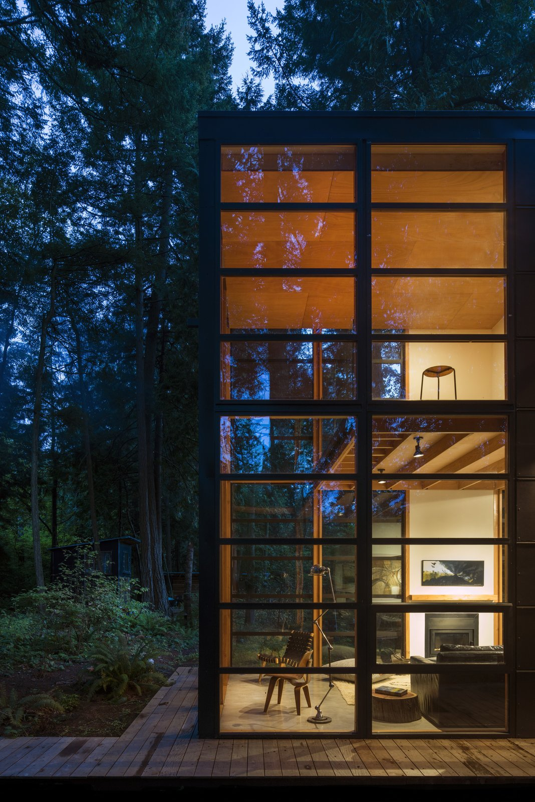 Floors are concrete on the lower level and exposed wood car decking is used on the upper floor.  Lightbox by Bohlin Cywinski Jackson