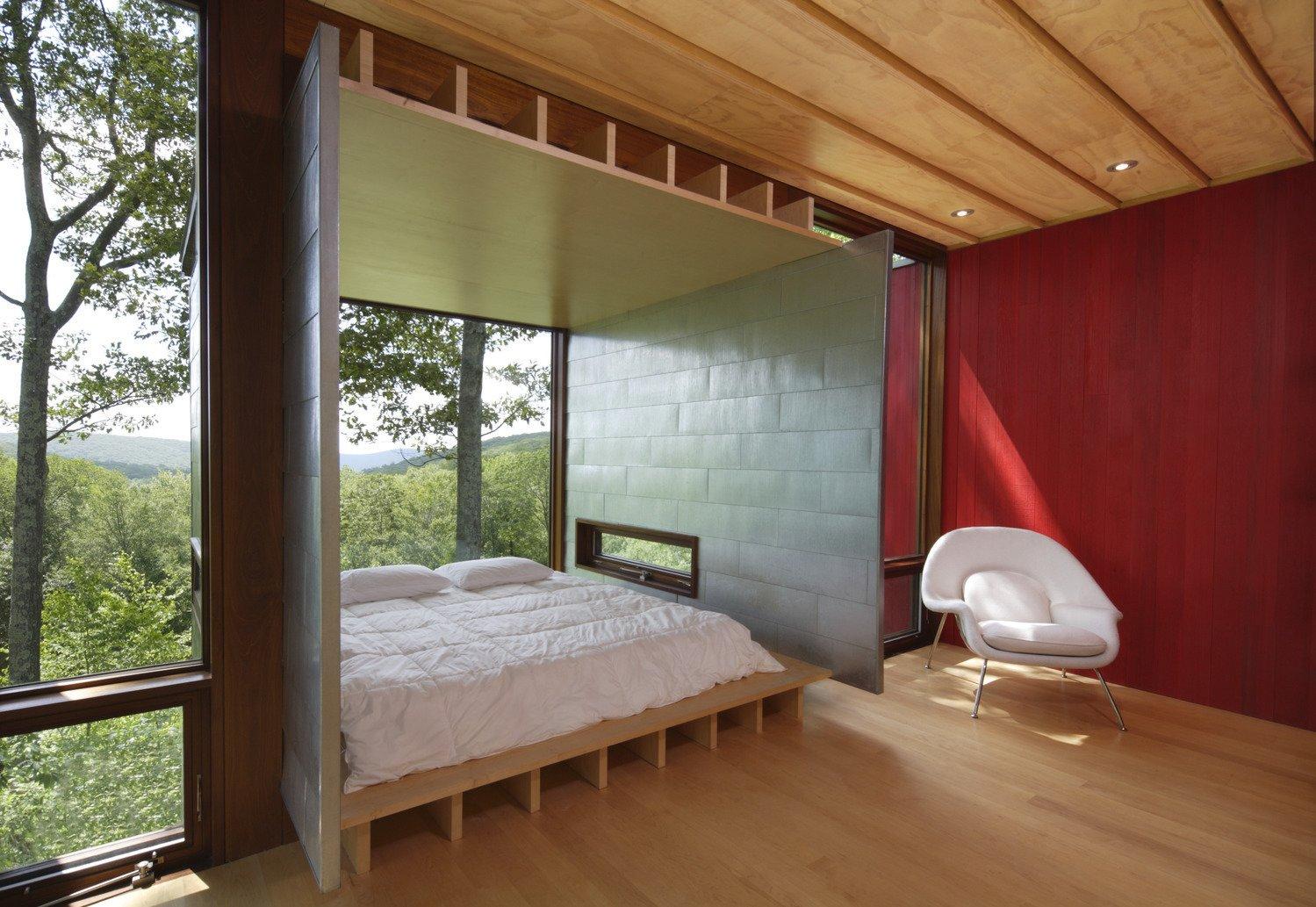 Tagged: Bedroom, Chair, Light Hardwood Floor, and Bed.  Edge House by Bohlin Cywinski Jackson