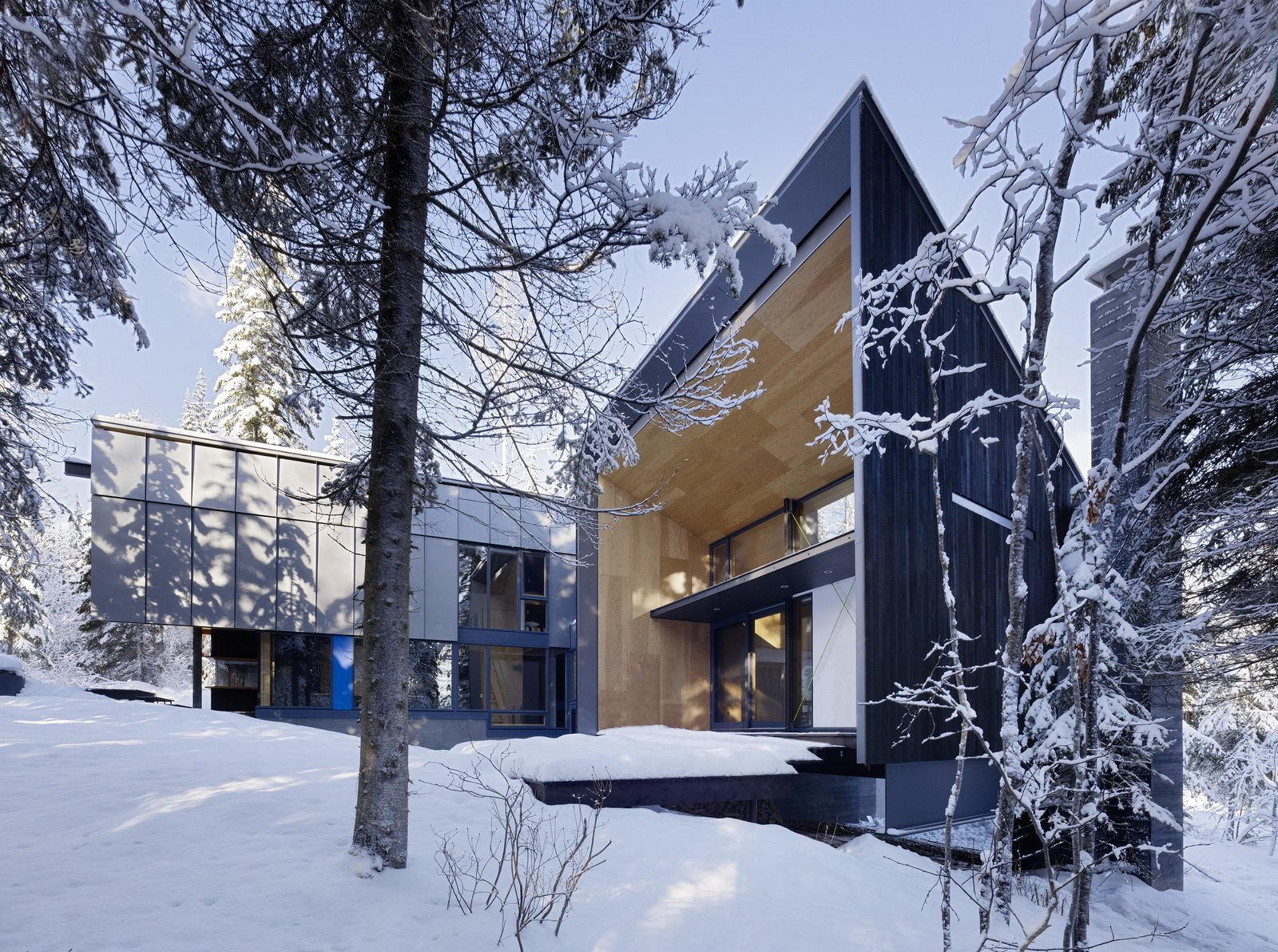 Tagged: Exterior, Cabin Building Type, House, Wood Siding Material, and Metal Siding Material.  Kicking Horse Residence by Bohlin Cywinski Jackson