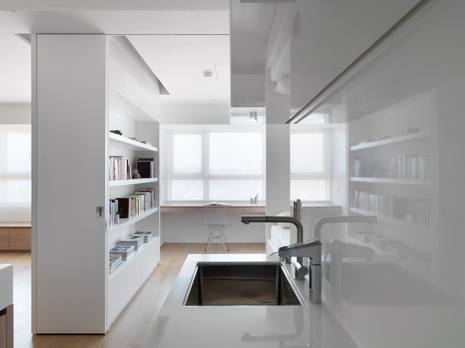 The surface of materials are chosen to meet function, and also add reflection or depth for the space.