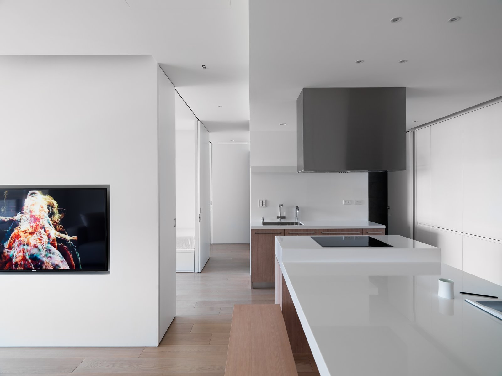 Space is divided and defined by functional block.  KT Apartment by Marty Chou Architecture