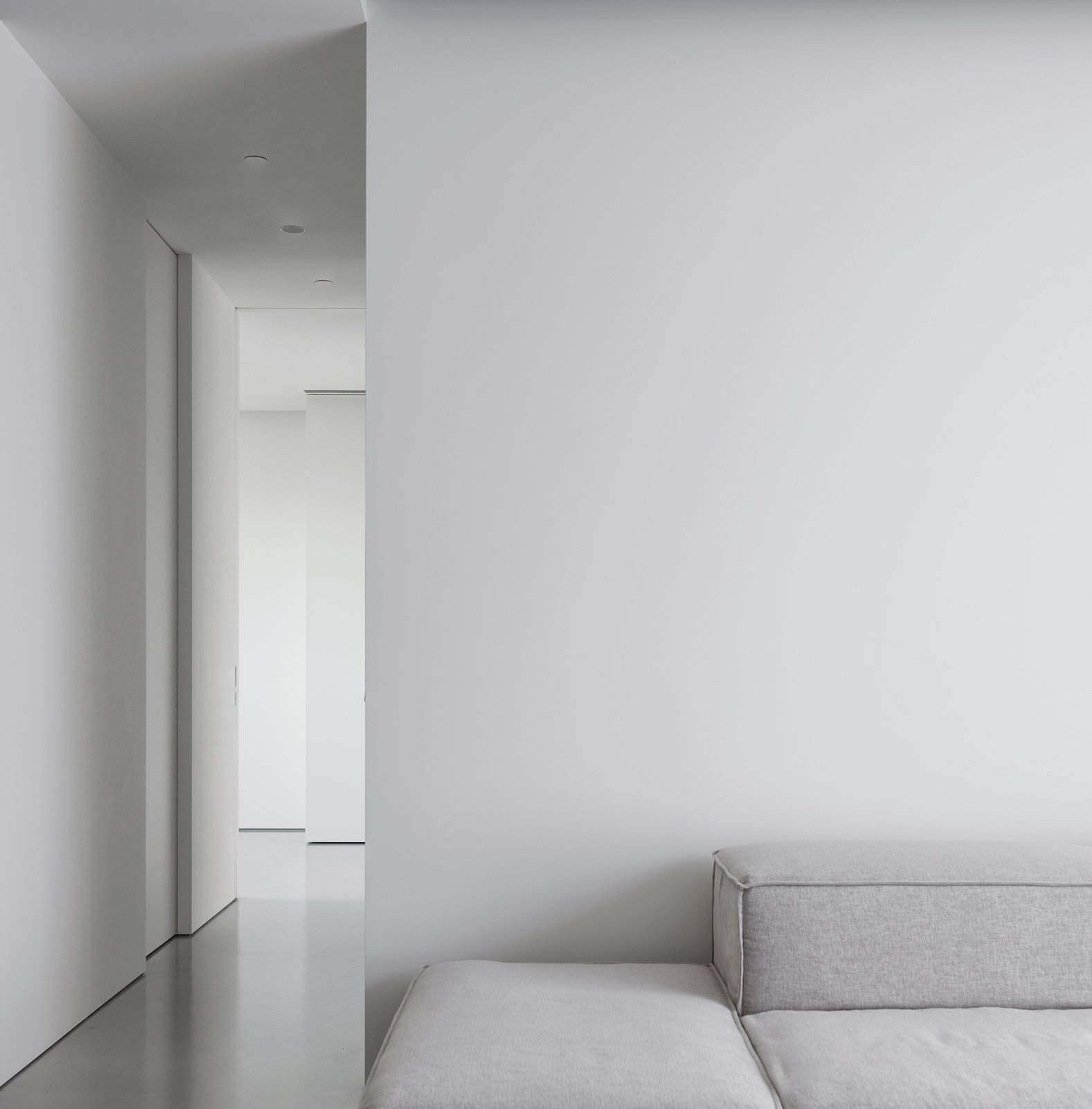 Eyes only focus on the depth of space and variation of light.    The Element Apartment by Marty Chou Architecture