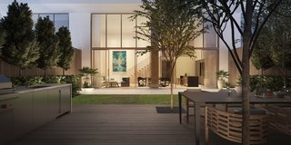 Shown here is the garden view of Three Hundred Collins, which Hansen designed to be a culturally-inspired sanctuary for residents of Miami's South Beach.