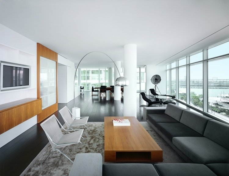 An example of Hansen's clean-lined, natural aesthetic at work in the residence he designed for re