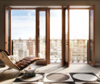 Hansen employed danish masonry brick work and solid mahogany framed windows for his residential project Two Ten West 77.