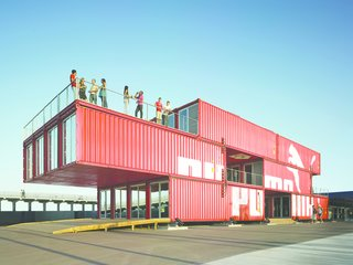 Explore the World of Shipping Container Design With a New Architectural Book - Photo 5 of 9 - Puma City was originally created to travel on a cargo ship  alongside sailboats during the 2008 Volvo Ocean Race.