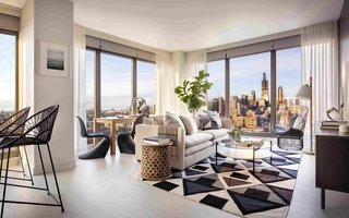 """Tour a New Residential High-Rise That's Uniquely """"Chicago"""" - Photo 1 of 11 - The living and dining area of a two-bedroom unit"""