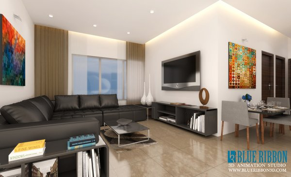 Photo 3 of 3d Interior rendering modern home