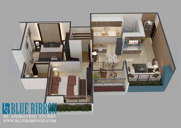 Photo 2 of 3d Floor Plan modern home