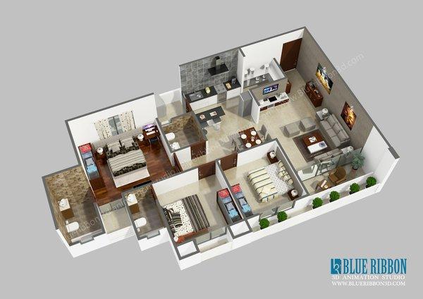 Photo 3 of 3d Floor Plan modern home