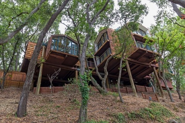Modern home with outdoor, front yard, trees, garden, large patio, porch, deck, decking patio, porch, deck, walkways, gardens, boulders, and slope. Photo  of Nuovo Mondo - Los Gatos Treehouse