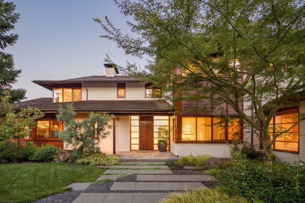 The home's landscape draws inspiration from classic traditional Japanese gardens.  Photo 2 of Lakeside House modern home