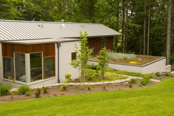 The garage features a green roof accessible from a side yard entry. Photo 4 of Cedar Mills House modern home